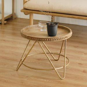 Table top modern minimalist rattan round three legs coffee table storage round small side table