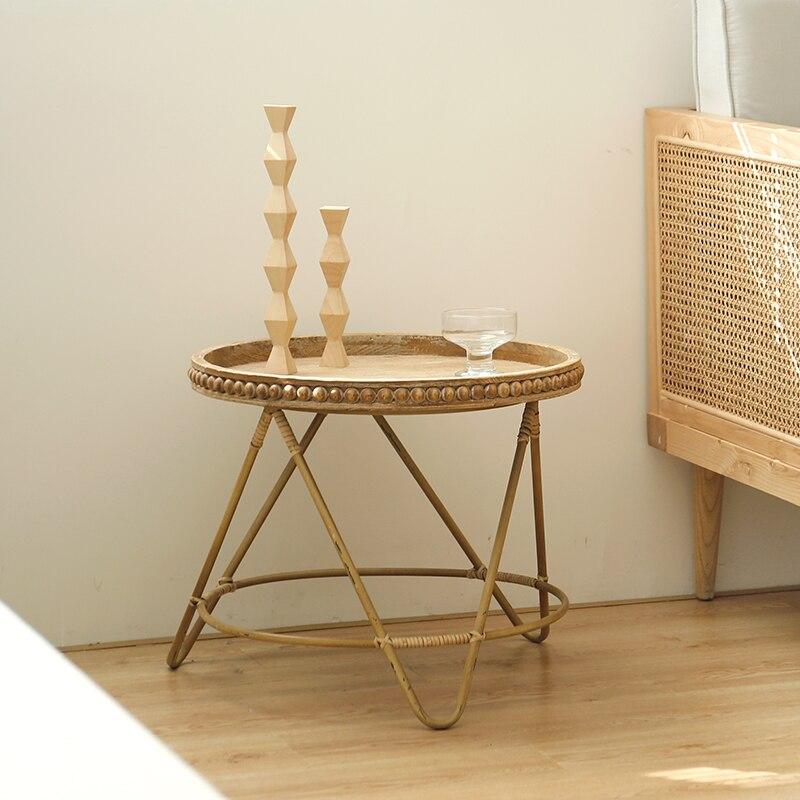 Plateau table moderne minimaliste rotin rond trois pieds table basse rangement rond petite table d'appoint