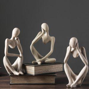 VILEAD nordique Abasract penseur Statue résine Figurine bureau décoration de la maison décor de bureau artisanat fait main Sculpture Art moderne