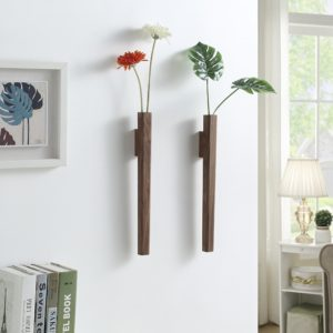 Nordic Handmade Solid Wood Wall Vase Hydroponic Flower Plant Pot Bonsai Glass Bottle Home Bar Restaurant Decor Entrance Ornament