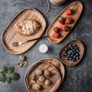 Whole Wood Cake Plate Wooden Pan Fruit Dishes Dessert Serving Tray Bread Nuts Snacks Tea Tray Sushi Plates Tableware Home Decor