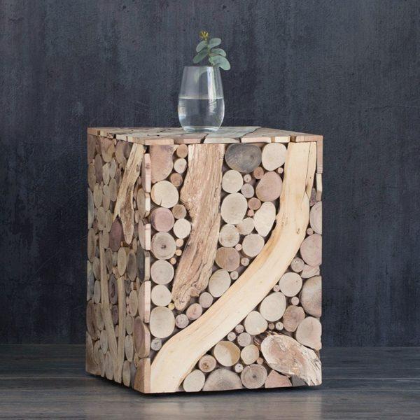 Création Art Table d'extrémité en bois massif salon moderne brève Table basse carrée en bois Table d'appoint