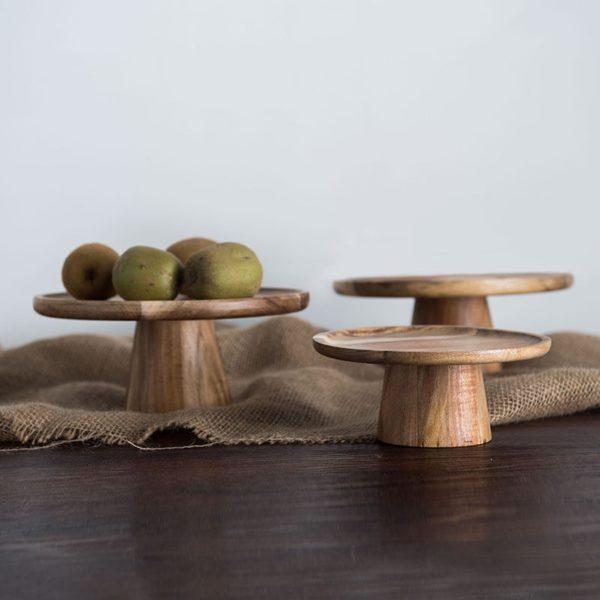 Natural wood fruit plate stand cake show stand fruit tray dinner plate food dishes combination wood