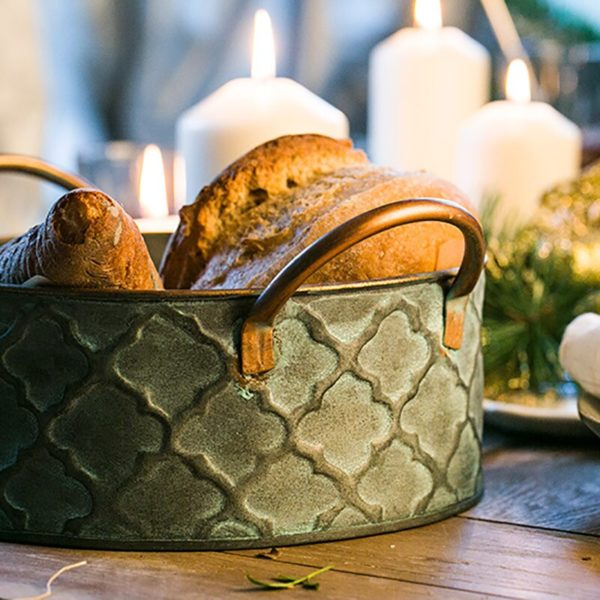Iron Bread Basket Retro Antique Style Family Metal Storage Basket Fruit Container Fried Vintage Tray With Handle Decoration