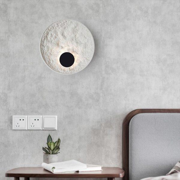 Nordic Loft Art circle wall Led lamp retro resin bedroom bedside bar study wall light