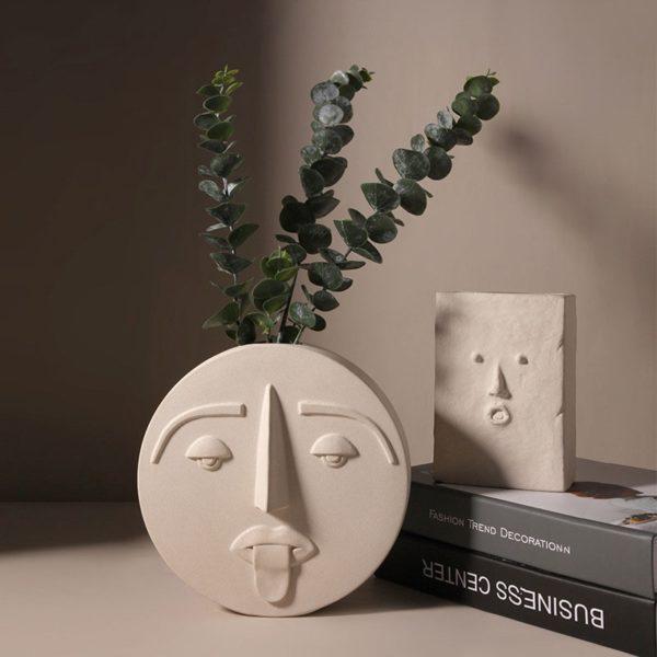 Nordic Style Modern Face Mask Ceramic Vase Home Decoration Flower Vases Head Matte Table Flower Vase for Wedding Decoration Prop
