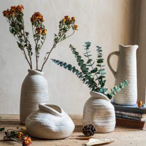 Vase en céramique blanche nordique créatif fleurs séchées salon meuble Tv décoration de la maison ornements fleur Arrangement porcelaine