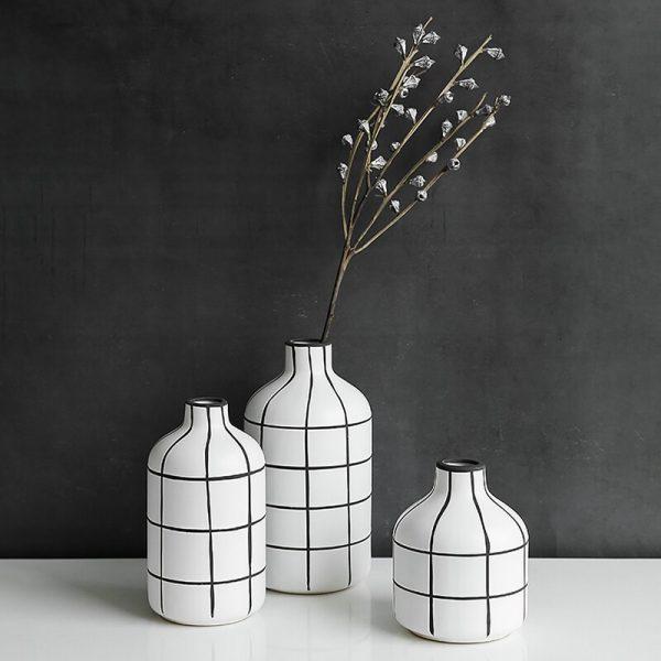 Ceramic Black and White Stripes Vases Nordic Home Office Decoration Dining Table Vase Filler Porcelain Unique Housewarming Gifts