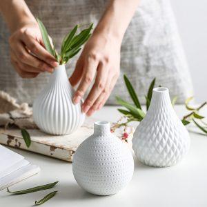 1pc White Ceramic Flower Vase Geometric Matt Vase Drop-shape Plants Hydroponic Container Home Garden Decoration
