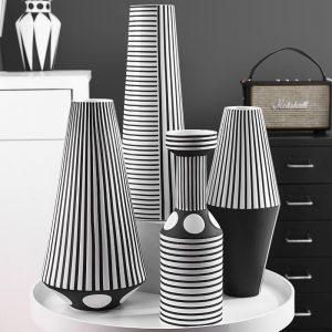 Nordic black and white striped creative ceramic vase geometric craft ornaments room decoration accessories home decor
