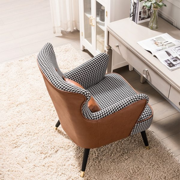 Nordic Style Houndstooth Single Sofa Chair Modern Minimalist Living Room Tiger Chair Bedroom Furniture Balcony Lazy Leisure Sofa