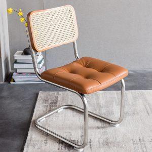 Chaises de salle à manger en rotin en bois massif, de style nordique rétro, avec dossier et accoudoir, meuble de salon