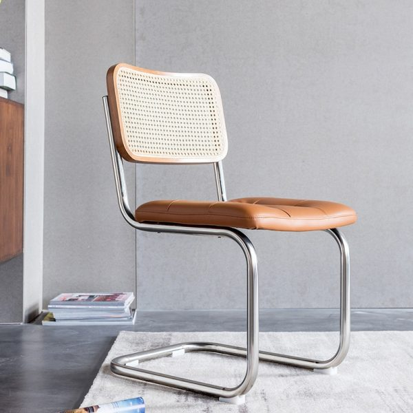 Rattan dining chairs in solid wood, retro Nordic style, with back and armrest, living room furniture