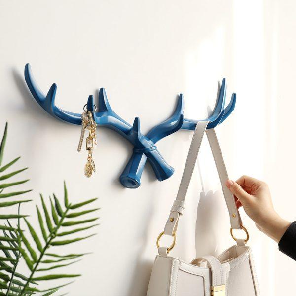 Resin Deer Horn Nordic Hook hanger Wall For Keys Holder Hat Coat Home wall decorative clothes Hanger Hooks towel