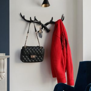 Crochet en résine de cerf corne nordique Crochet mural pour clés Porte-chapeaux Manteau Maison vêtements décoratifs Crochets serviette