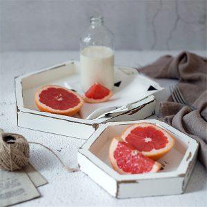 3 tailles rétro pastorale bois plateau de rangement gâteau de fruits Dessert assiette blanc couleur hexagone bijoux présentoir décor de bureau à la maison