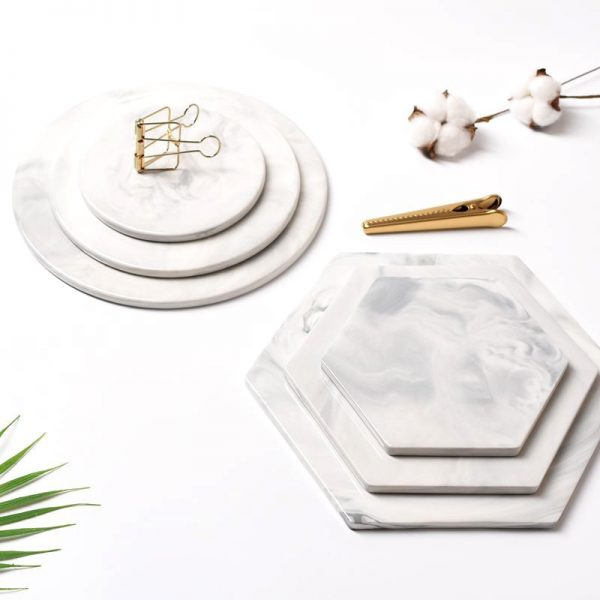 Ceramic Marble Cheese Cutting Board Pastry Dinner Cake Dessert Plate Restaurant Serving Tray Chopping Coaster Mad Pad Tableware