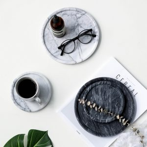 Marble Jewelry Plate Dish Dessert Plate Simple Handmade Snacks Dessert Storage Tray Decorative Placemat Tray for Home Organizer