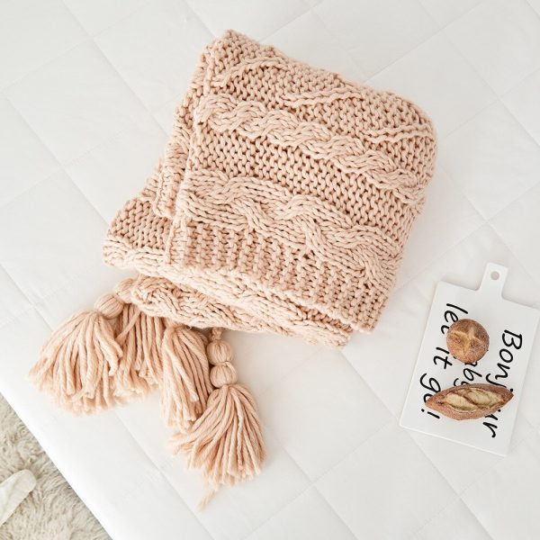 Bonenjoy Plaid Sofa Nordic Style Knitted Thow Blanket Yellow Hand Made Blankets for Sofa 130*160cm Soft Knitted Blanket