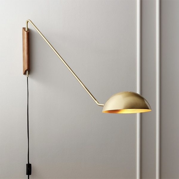 Artpad - Metal wall lamp in modern Italian design, with long rotating arm, for living room, sofa, wooden base