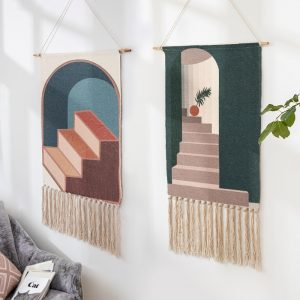 Nordic art hanging fabric new hand knitted tassel tapestry handmade wall hanging bohemian style retro home decor cotton