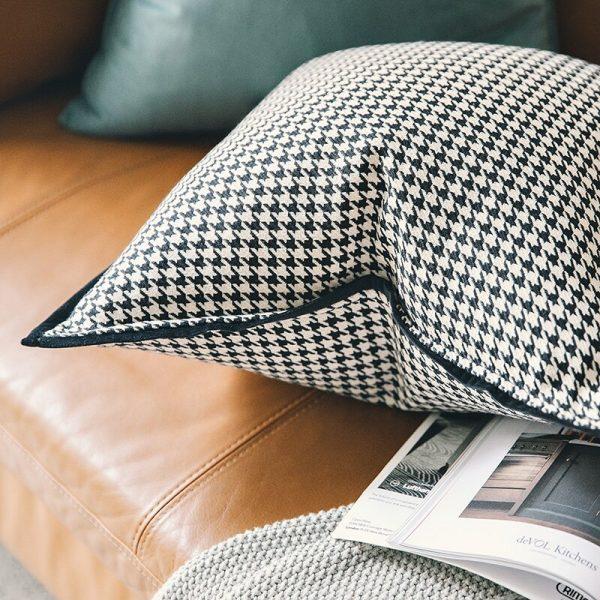 DUNXDECO – housse de Coussin décorative, taie d'oreiller de luxe moderne Simple, pied-de-poule blanc noir, Art, literie, canapé