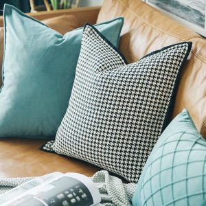 DUNXDECO - decorative cushion cover, modern luxury pillowcase Simple, houndstooth white black, Art, bedding, sofa