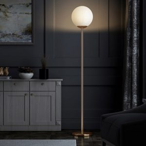 Brass plated frosted glass ball lamp, interior lighting, ideal for a living room, E27