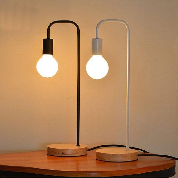 Loft lampe de bureau Vintage avec 2 couleurs traditionnelles américaines campagne en bois Edison lampes de Table luminaires de Table en métal nordique
