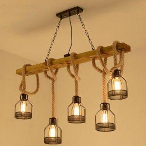 Loft suspension lampe salle à manger restaurant café salon corde de chanvre bois plafond lustre éclairage vintage droplight