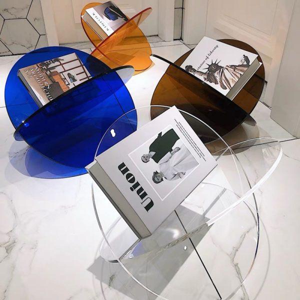 Bibliothèque de Style nordique étagère acrylique présentoir multifonction affichage de magazines stockage divers bibliothèque de stockage de salon de table
