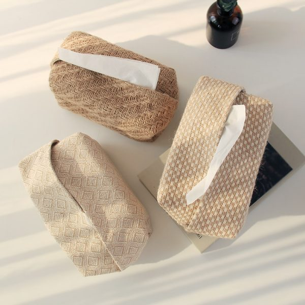 Ins cotton and linen pumping box fabric Simple weaving Homestay decoration toilet paper storage Beige apricot Photo accessory