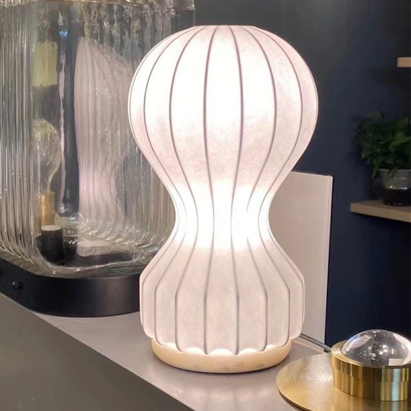 Artpad - fabric table lamp, white shade, modern artistic decoration, bedside lamp for bedroom, office, living room, indoor lighting E27