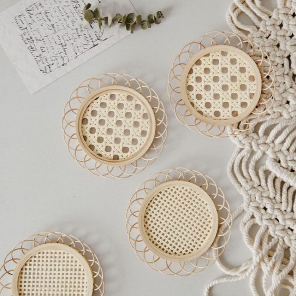 Vietnam bamboo weaving thermal insulation handmade rattan round doily Nordic style retro room decoration accessories Photo